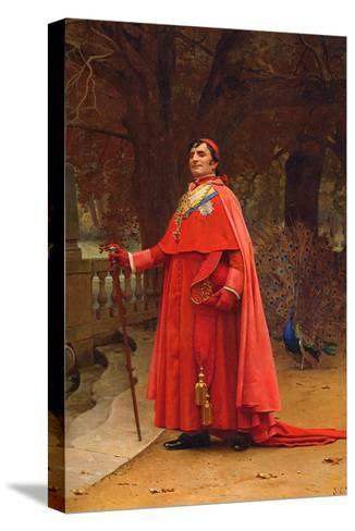 The Preening Peacock-Jean Georges Vibert-Stretched Canvas Print