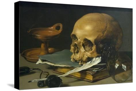 Still Life with a Skull and a Writing Quill, 1628-Pieter Claesz-Stretched Canvas Print