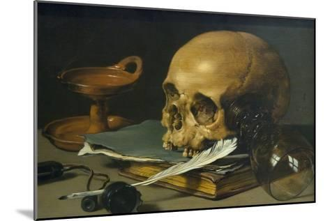 Still Life with a Skull and a Writing Quill, 1628-Pieter Claesz-Mounted Art Print