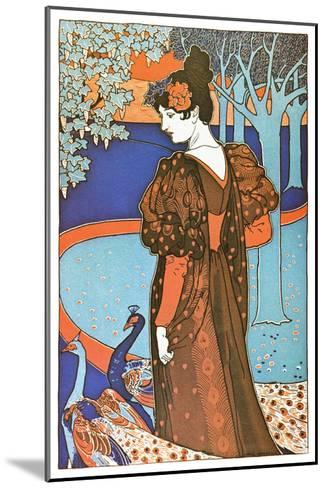 Woman with Peacocks-Alphonse Mucha-Mounted Art Print