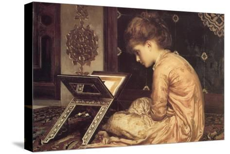 At a Reading Desk-Frederick Leighton-Stretched Canvas Print