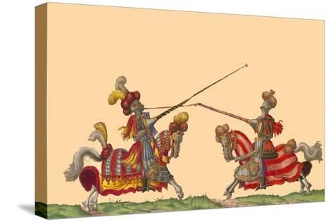 Lances at the Thrust Between Knights-Hector Mair Paulus-Stretched Canvas Print