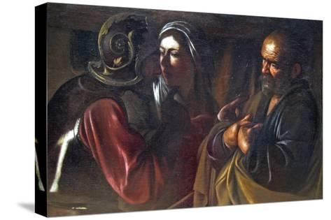Denial of St. Peter-Caravaggio-Stretched Canvas Print