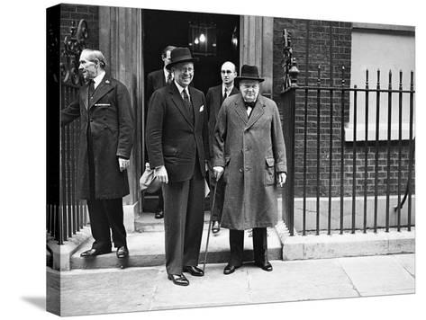 WWII London Churchill and Kennedy--Stretched Canvas Print