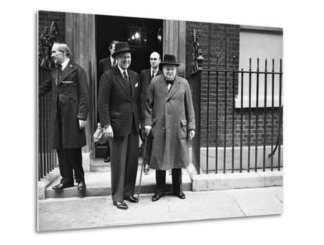 WWII London Churchill and Kennedy--Metal Print
