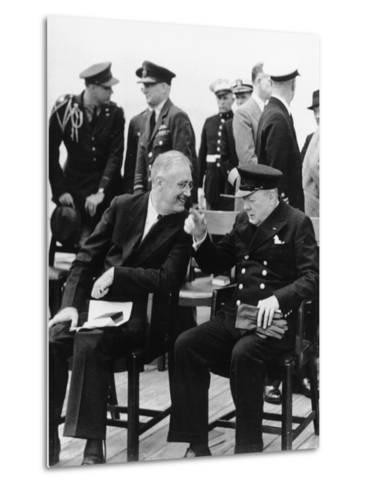 WWII Roosevelt Churchill--Metal Print