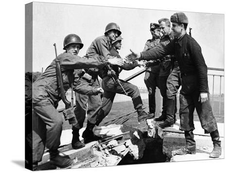 WWII Yanks and Russians Meet 1945--Stretched Canvas Print