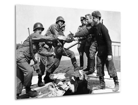 WWII Yanks and Russians Meet 1945--Metal Print