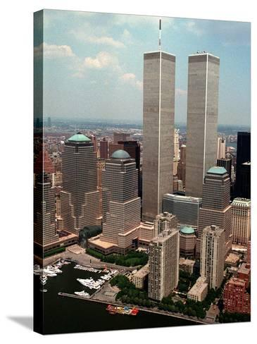 New York Landmarks Twin Towers-Ed Bailey-Stretched Canvas Print