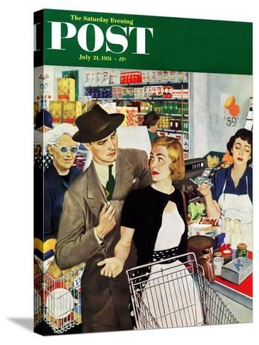 """More Money, Honey"" Saturday Evening Post Cover, July 21, 1951-George Hughes-Stretched Canvas Print"
