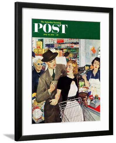 """More Money, Honey"" Saturday Evening Post Cover, July 21, 1951-George Hughes-Framed Art Print"