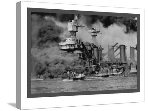 The Uss West Virginia at Pearl Harbor-U^S^ Gov'T Navy-Stretched Canvas Print