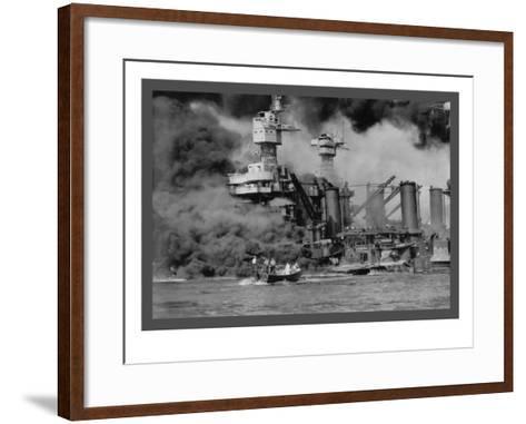 The Uss West Virginia at Pearl Harbor-U^S^ Gov'T Navy-Framed Art Print