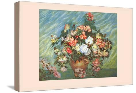 Pink and White Roses-Vincent van Gogh-Stretched Canvas Print