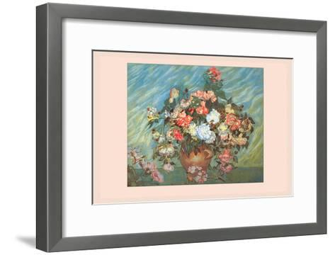 Pink and White Roses-Vincent van Gogh-Framed Art Print