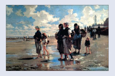 Oyster Gatherers of Cancale-John Singer Sargent-Stretched Canvas Print
