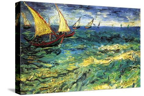 Seascape with Sailboats-Vincent van Gogh-Stretched Canvas Print