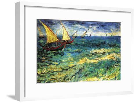 Seascape with Sailboats-Vincent van Gogh-Framed Art Print