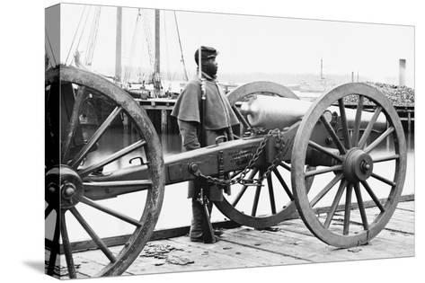 African American Soldier Guards Artillery in the Civil War--Stretched Canvas Print