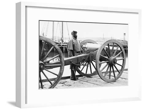 African American Soldier Guards Artillery in the Civil War--Framed Art Print