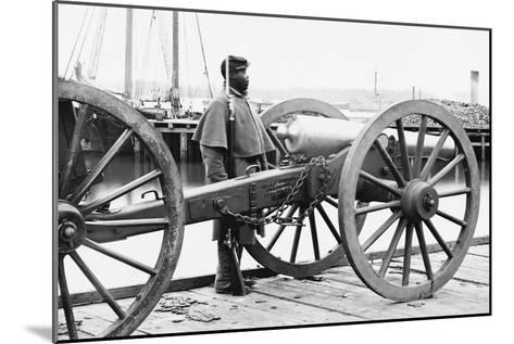 African American Soldier Guards Artillery in the Civil War--Mounted Art Print