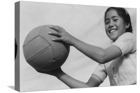 Girl and Volley Ball-Ansel Adams-Stretched Canvas Print
