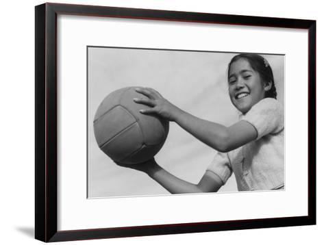Girl and Volley Ball-Ansel Adams-Framed Art Print