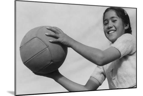 Girl and Volley Ball-Ansel Adams-Mounted Art Print