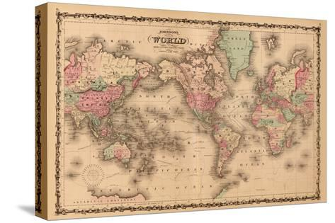 World Map-A^J^ Johnson-Stretched Canvas Print