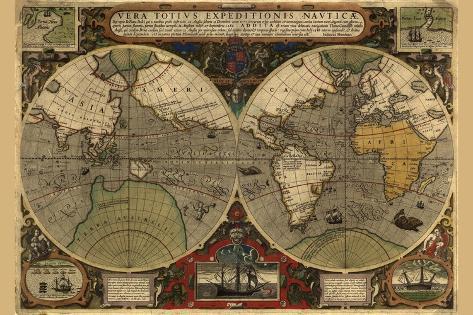 Vera Totius Expeditionis Nautica (World Map)-Abraham Ortelius-Stretched Canvas Print