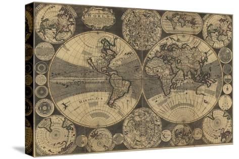 World Map with Planets-W. Godson-Stretched Canvas Print