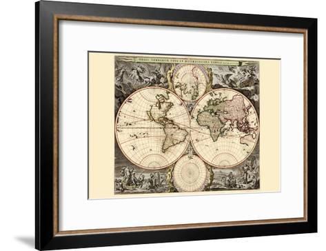 World Map-Nicolao Visscher-Framed Art Print