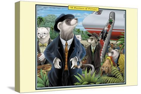 A Business of Ferrets-Richard Kelly-Stretched Canvas Print