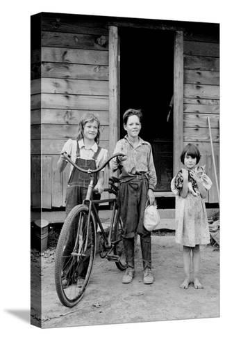 Beautiful Children with Bike and a Cat-Dorothea Lange-Stretched Canvas Print