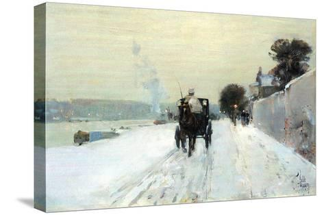 Along the Seine-Childe Hassam-Stretched Canvas Print