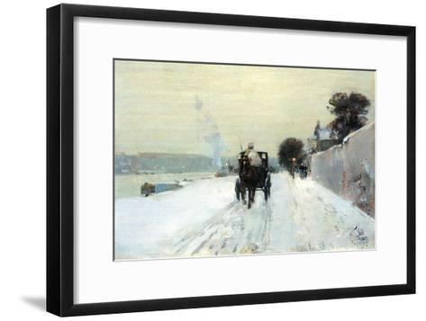Along the Seine-Childe Hassam-Framed Art Print