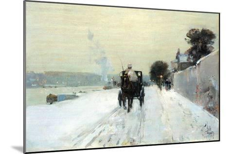 Along the Seine-Childe Hassam-Mounted Art Print