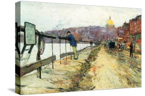 Charles River and Beacon Hill-Childe Hassam-Stretched Canvas Print
