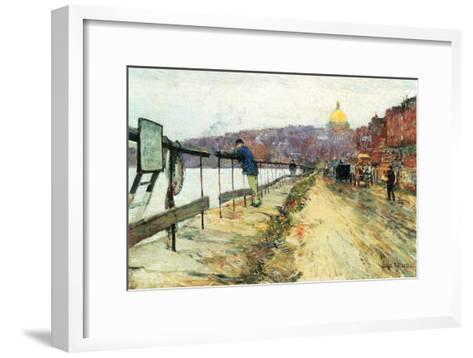 Charles River and Beacon Hill-Childe Hassam-Framed Art Print