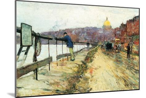 Charles River and Beacon Hill-Childe Hassam-Mounted Art Print