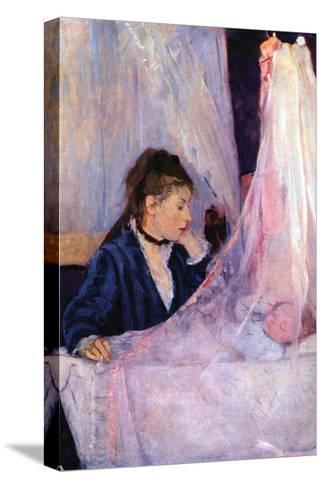 Mother Looks at Baby in the Cradle-Berthe Morisot-Stretched Canvas Print