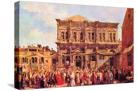 Festival in San Rocco-Canaletto-Stretched Canvas Print