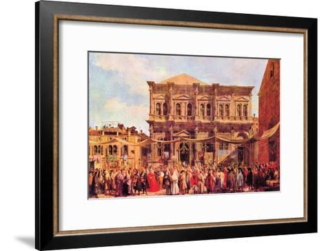 Festival in San Rocco-Canaletto-Framed Art Print