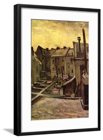 Backyards of Old Houses in Antwerp in the Snow-Vincent van Gogh-Framed Art Print