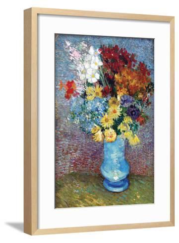 Flowers in a Blue Vase by Van Gogh-Vincent van Gogh-Framed Art Print