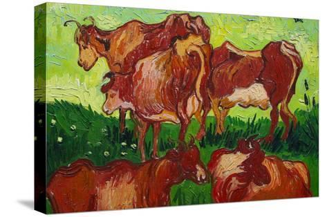 Les Vaches by Van Gogh-Vincent van Gogh-Stretched Canvas Print