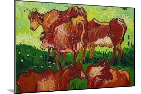 Les Vaches by Van Gogh-Vincent van Gogh-Mounted Art Print