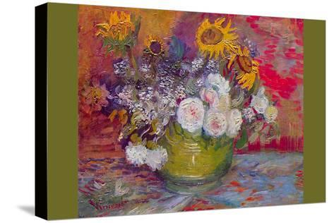 Still-Life with Roses and Sunflowers by Van Gogh-Vincent van Gogh-Stretched Canvas Print
