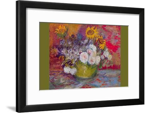 Still-Life with Roses and Sunflowers by Van Gogh-Vincent van Gogh-Framed Art Print