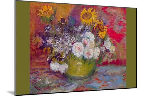 Still-Life with Roses and Sunflowers by Van Gogh-Vincent van Gogh-Mounted Art Print